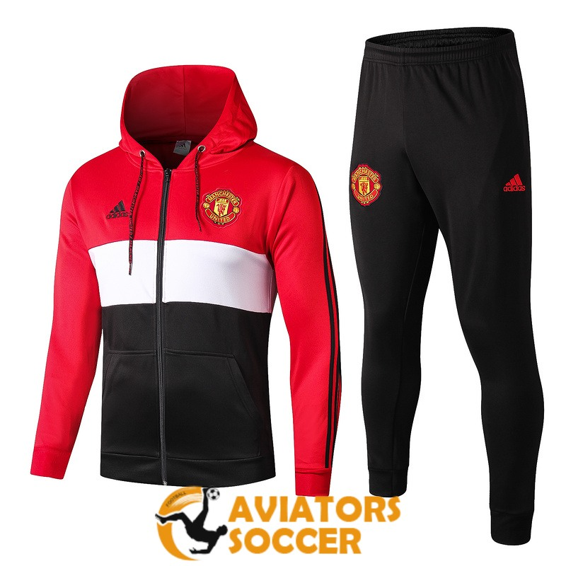hooded manchester united jacket red white black 2019 2020