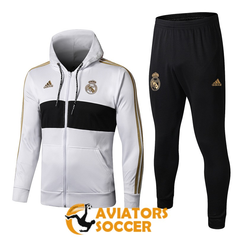 hooded real madrid jacket white 2019 2020