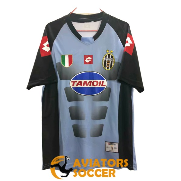 retro goalkeeper juventus shirt jersey blue black 2002 2003