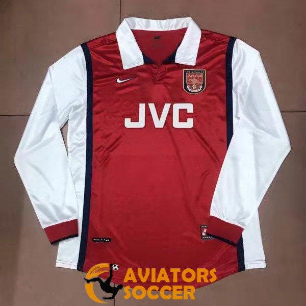 retro long sleeve arsenal shirt jersey home 1998
