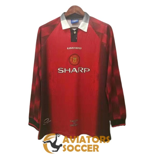 retro long sleeve manchester united shirt jersey home 1996 1998