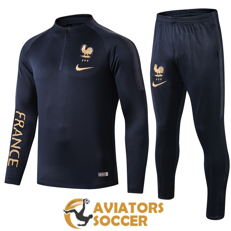tracksuit france 2019 2020 dark blue golden zipper